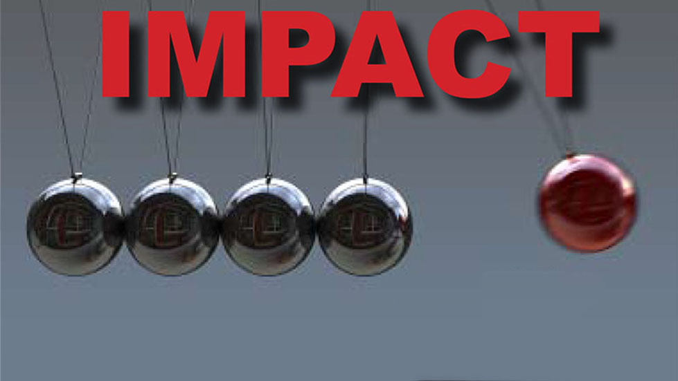 Newtons Cradle with Impact Text